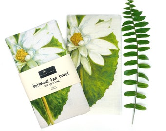 Water Lily Botanical Linen Tea Towel, Julie McEnerny