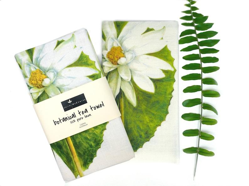 Water Lily Botanical Linen Tea Towel Julie McEnerny image 0
