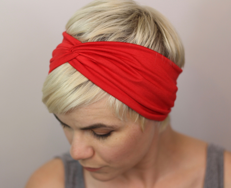 Red Twist Headband Bright Red Hair Turban Womens Turban  1827e5f713e