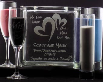 """SALE! 40% OFF! Happy B-day Etsy! Personalized Blended Family Sand Ceremony Set 8"""" Glass Block w/choice of 3 Pouring Containers Extra Avail"""