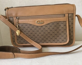 8109d058bda Authentic Vintage 1970 s Gucci Brown Monogram Coated Canvas Leather  Crossbody Shoulder Bag