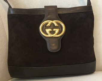 e35f1bbe006 Authentic Vintage 1970s Gucci Large Logo Dark Brown Suede   Leather  Shoulder Bag