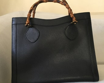 7ba2608b78d Authentic Vintage Gucci Black Leather Bamboo Handles Diana Tote Handbag
