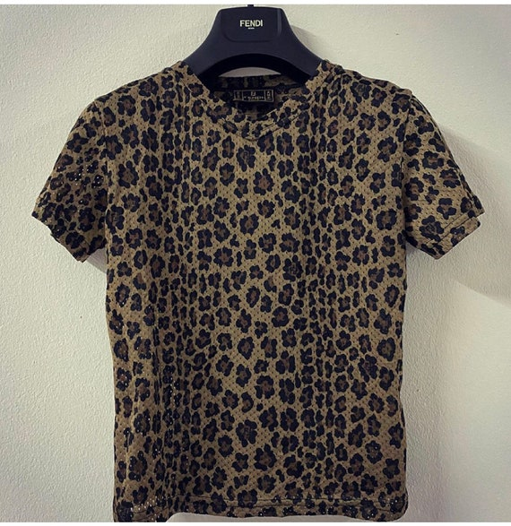 Authentic Fendi Jeans FF Logo Leopard Printing Sho