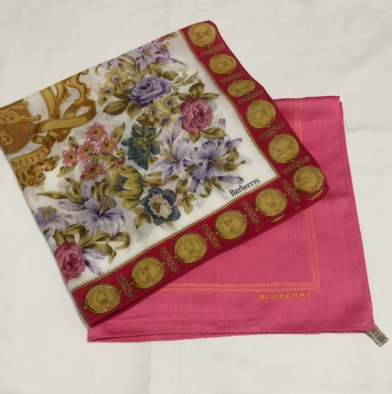 """2 Authentic Burberry Pink 20"""" & Multicolor Flower"""