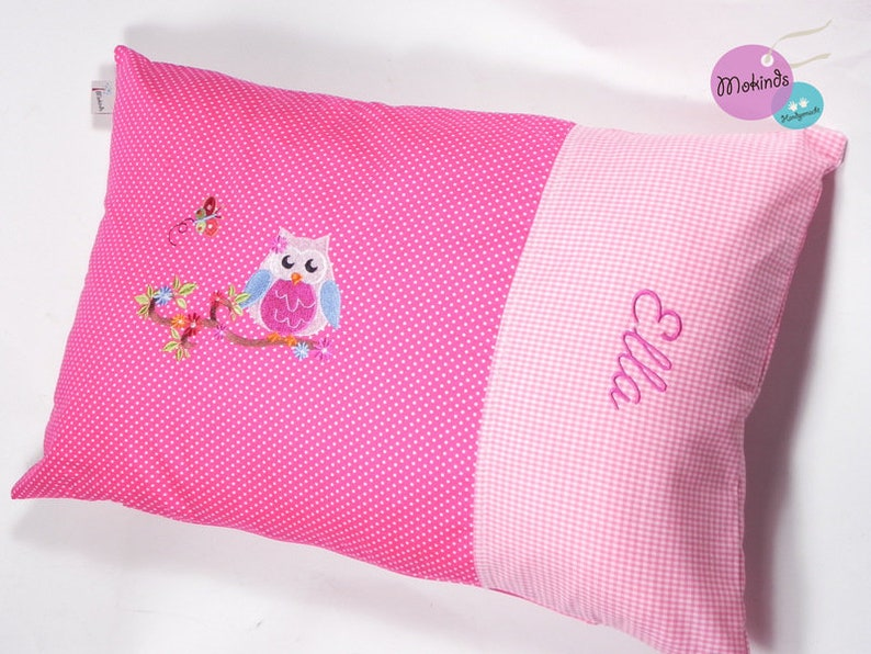 Owl Pillow Pink 60 x 40 cm with name image 0