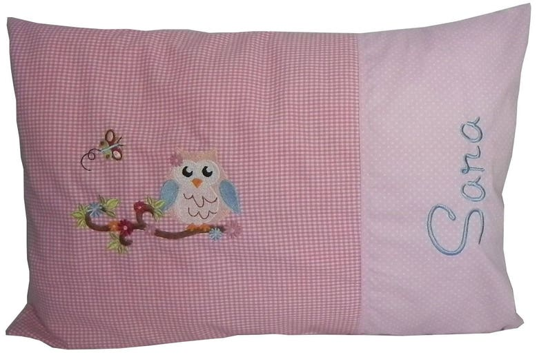 Name cushion with name owl pink image 0