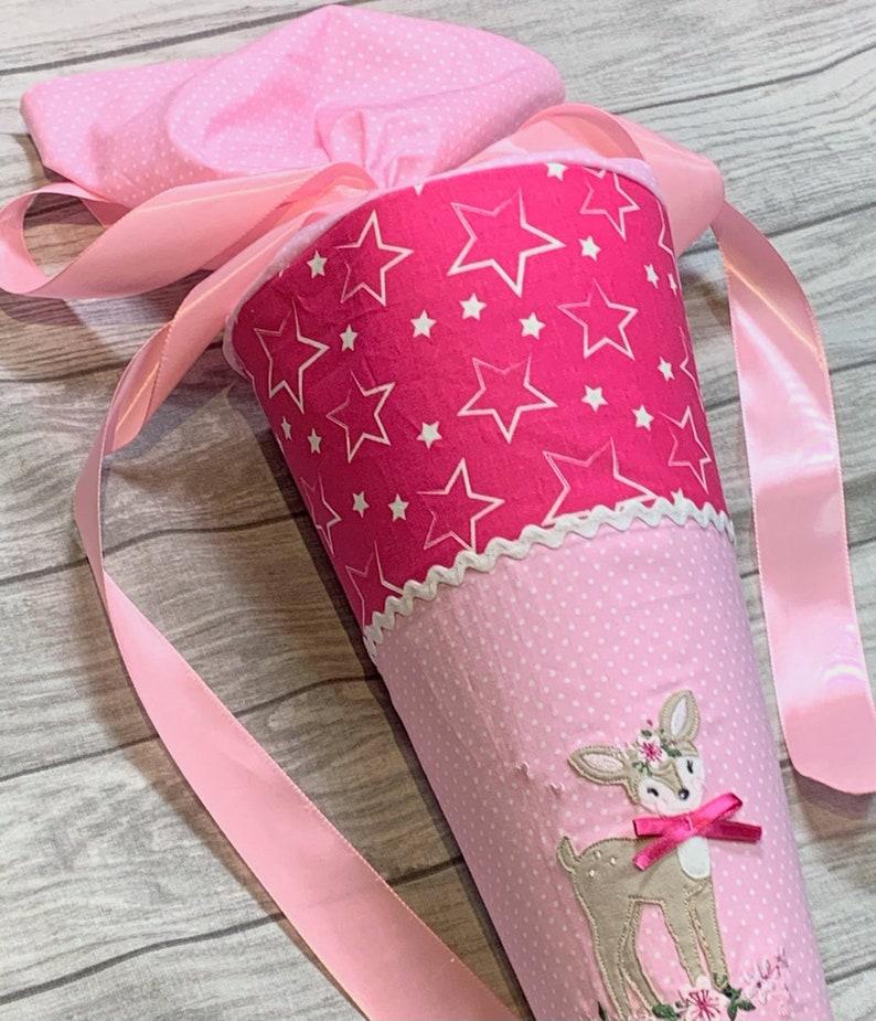School bag with name deer stars pink
