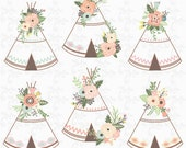 Floral Tribal clip art quot FLORAL TEEPEE quot clipart, floral, teepee, wedding floral, wreath. 12 images Png files 300 dpi. Instant Download Wd166