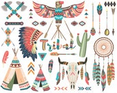 Tribal clip art set, Teepee Tents, Feathers, Arrows, Skull, Bison Cactus, Dream Catcher, Indian Clipart and More 300 DPI High Quality Trb017