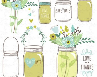 Hand Draw Mason Jars Clipart WEDDING MASON JARS Clip Art Wedding Invitationsave The Date For Scrapbooking Wd034