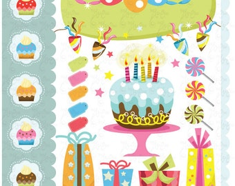 Birthday Clip Art Baby Party Graphic Kids Perfect For Scrapbook Cards InvitationsPersonal And Commercial Use Bs011