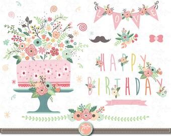 Blume Geburtstag Clipart Floral Geburtstag Etsy