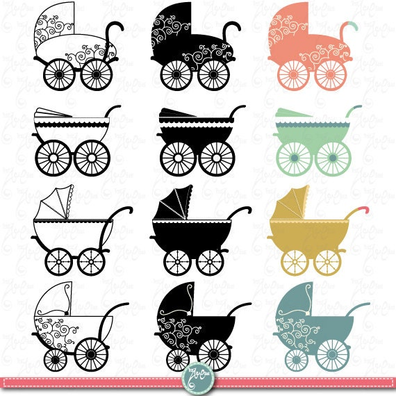 Vintage baby carriage clipart: