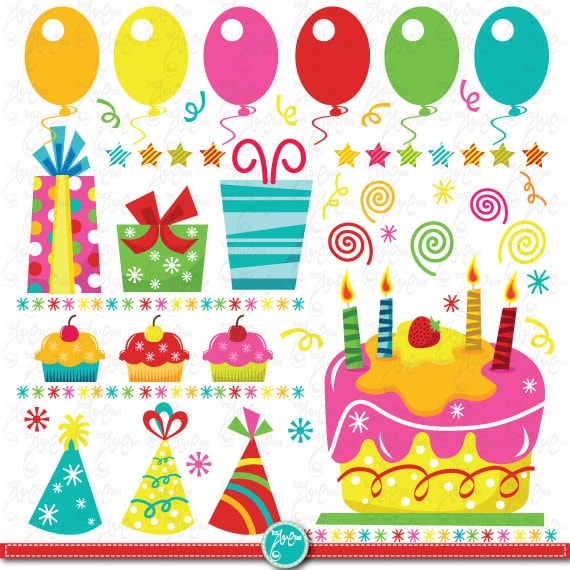Birthday Party Clip Art BIRTHDAY PARTYclipart Setbirthdaypartybaby Bannercup Cakeinvitationsscrapbooking And Paper Crafts Bs013