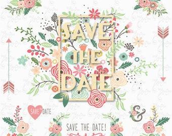 """Wedding Clipart pack:""""WEDDING FLORAL FRAME"""", vintage flowers, floral frames, wedding, invitation, wedding flower. 14 Png files 300 dpi.Wd174"""