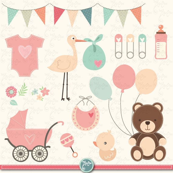 baby shower clipart baby shower clip art birth announcement rh etsystudio com Baby Shower Background Clip Art Baby Shower Background Clip Art