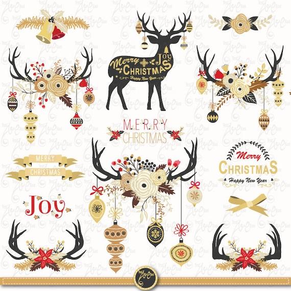 Weihnachten ClipArt GOLD Blumen GEWEIH Pack Gold | Etsy