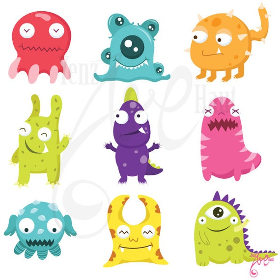 Cute Litter Monsters Clip art Set Lcm001 Personal and   Etsy