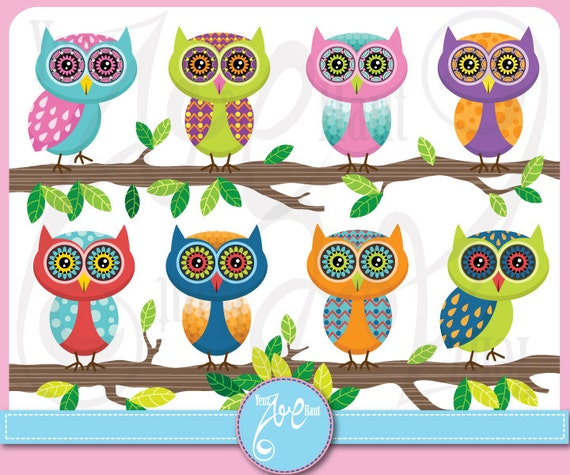 Owl Clipart Owl Clip Art Pack Cute Colorful Owl Etsy
