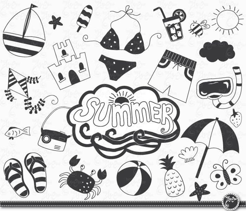 Hand Draw Summer Summer Clip Art Pack Summer