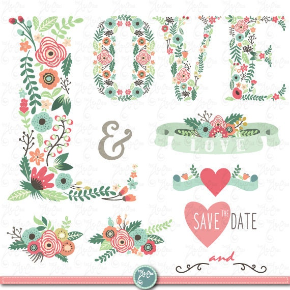 Wedding Clipart Floral Love Letter Clip Etsy