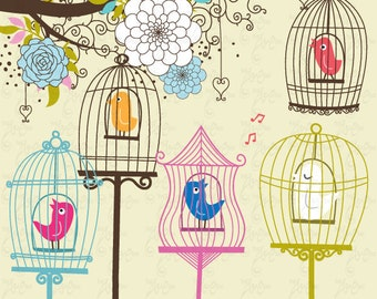 Wedding Clipart Design,Flowers,Flora clipart, Birdcages clipart,Love,wedding invitaion Wd002 Personal and Commercial Use.