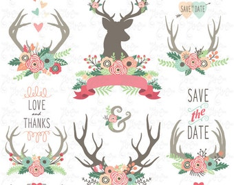 "Wedding clip art: ""WEDDING FLORAL ANTLERS"" Clipart, Floral Antlers, deer clipart, Wedding invitation. 32 images Png files 300 dpi. Wd091"