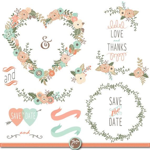 Hochzeit Clipart Pack Floral Heart Shape Vintage Etsy