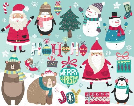 christmas collections christmas clipart snowman cute santa merry christmas penguin christmas diy holiday clipart printable cm090 by yenzarthaut catch my party christmas collections christmas