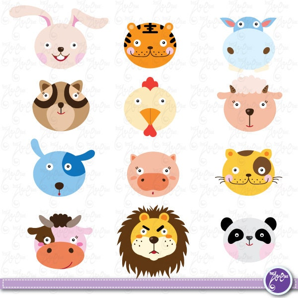 Wild Animals Clip Art Cute Animals Jungle Animals Farm Etsy