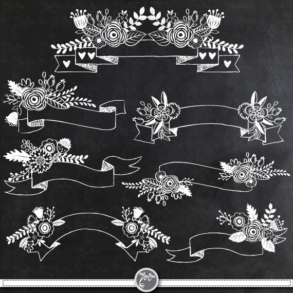 Chalkboard Floral Banners clipart pack CHALKBOARD | Etsy
