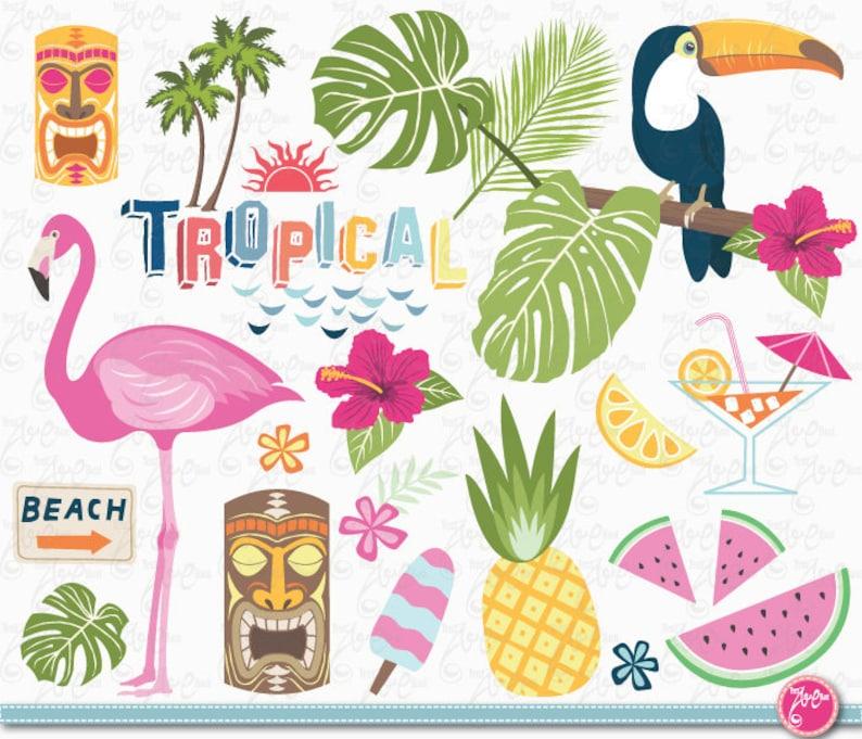 ice cream parrot watercolor summer clipart set flamingo summer graphics beach clipart Tropical clip art watermelon aloha hawaii