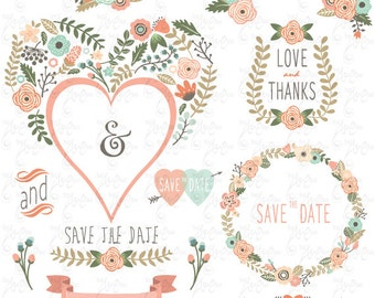 Wedding Clipart Pack FLORAL HEART SHAPE Vintage Flowers Floral Frames Wreath Save The Date InvitationInstant Download Wd117