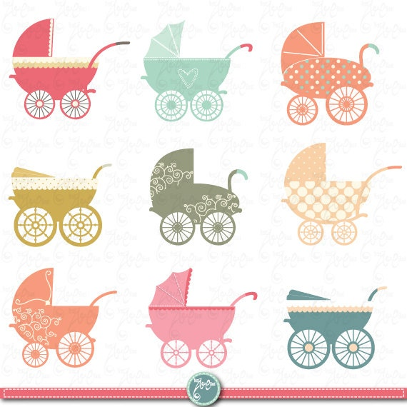 baby stroller clipart baby carriage clip art pack baby shower