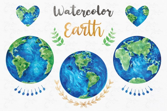Earth day clipart Watercolor clipart Watercolor Globes  for Greeting card. Planet Clipart