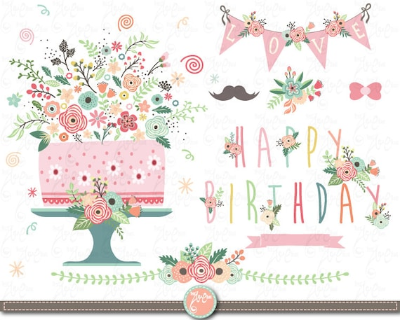 Flower Birthday Clip Art Floral Birthday Clipart Etsy