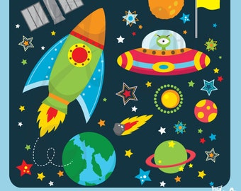 """Outer space clipart:""""OUTER SPACE""""clip art pack instant download Os002 spaceship,planets,rockets,stars for scrapbooking,card making,invites"""