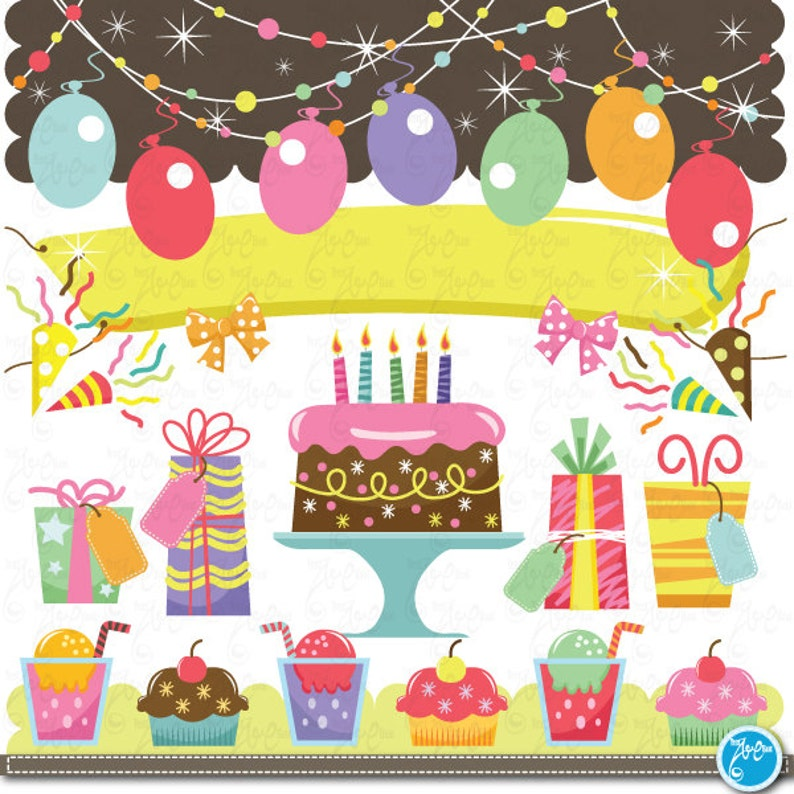 Birthday Clip Art Baby Party Graphic Kids