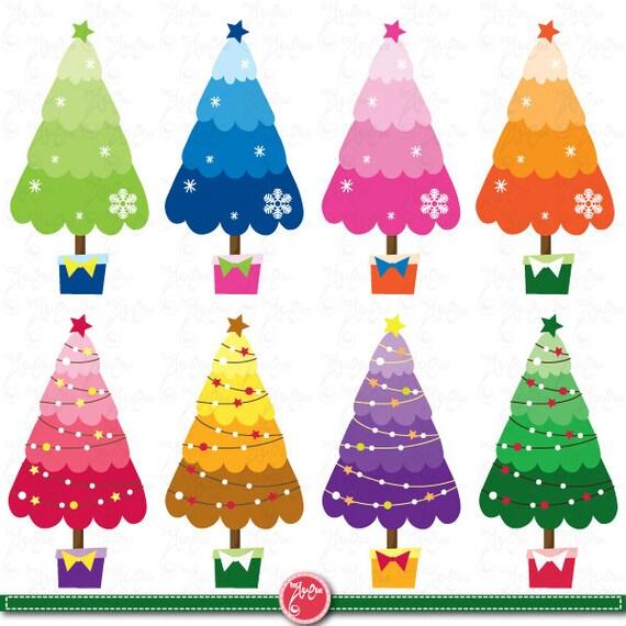 Weihnachten Clipart Weihnachtsbaum Clipart Bunten Etsy