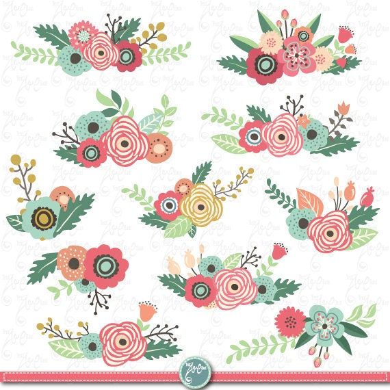 Flowers Clipart Pack Flower Clip Art Pack Vintage Flowers Spring