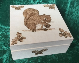 Squirrel Solid Wooden Egg with Acorns and Oak Leaves Wood Burning Pyrography Original Design
