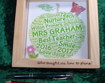 Personalised Word Art in wooden box frame with pyrography and embellishments - new baby, teacher gift, sorry you are leaving gift