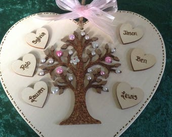 Family Tree Heart Plaque with resin embellishments - family tree, grandparents gift, anniversary gift