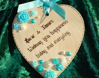 Personalised Wooden Wedding Heart with resin embellishments  - perfect wedding gift, anniversary gift or engagement gift!