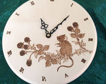Personalised Sycamore Clock with pyrography design of Rabbits or Mouse and blackberries - wedding gift, anniversary gift, engagement gift
