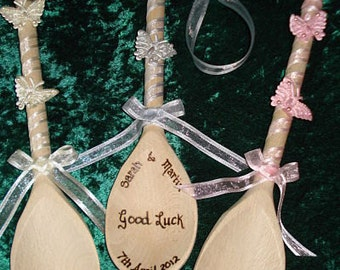 Personalised Wooden Wedding Spoon with butterflies and organza