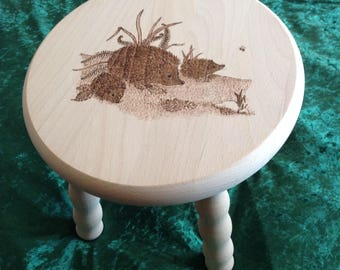 Personalised Wooden Stool with Hedgehogs - Christening gift, childs present, New Baby gift
