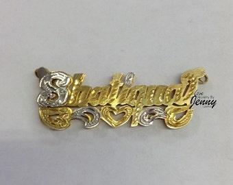 14K Gold Overlay 3-D Double Plate X&O Name Bracelet/name | Etsy