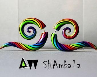 Colorful earrings fake plugs, rainbow earrings fake gauges, multicolor tribal stud earrings, spiral snake crazy earring, candy fake earrings